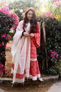 Red Bandhani Chanderi Suit Set - Pink Official