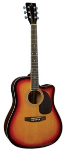 J Reynolds Sunburst Dreadnought Acoustic-Electric Guitar