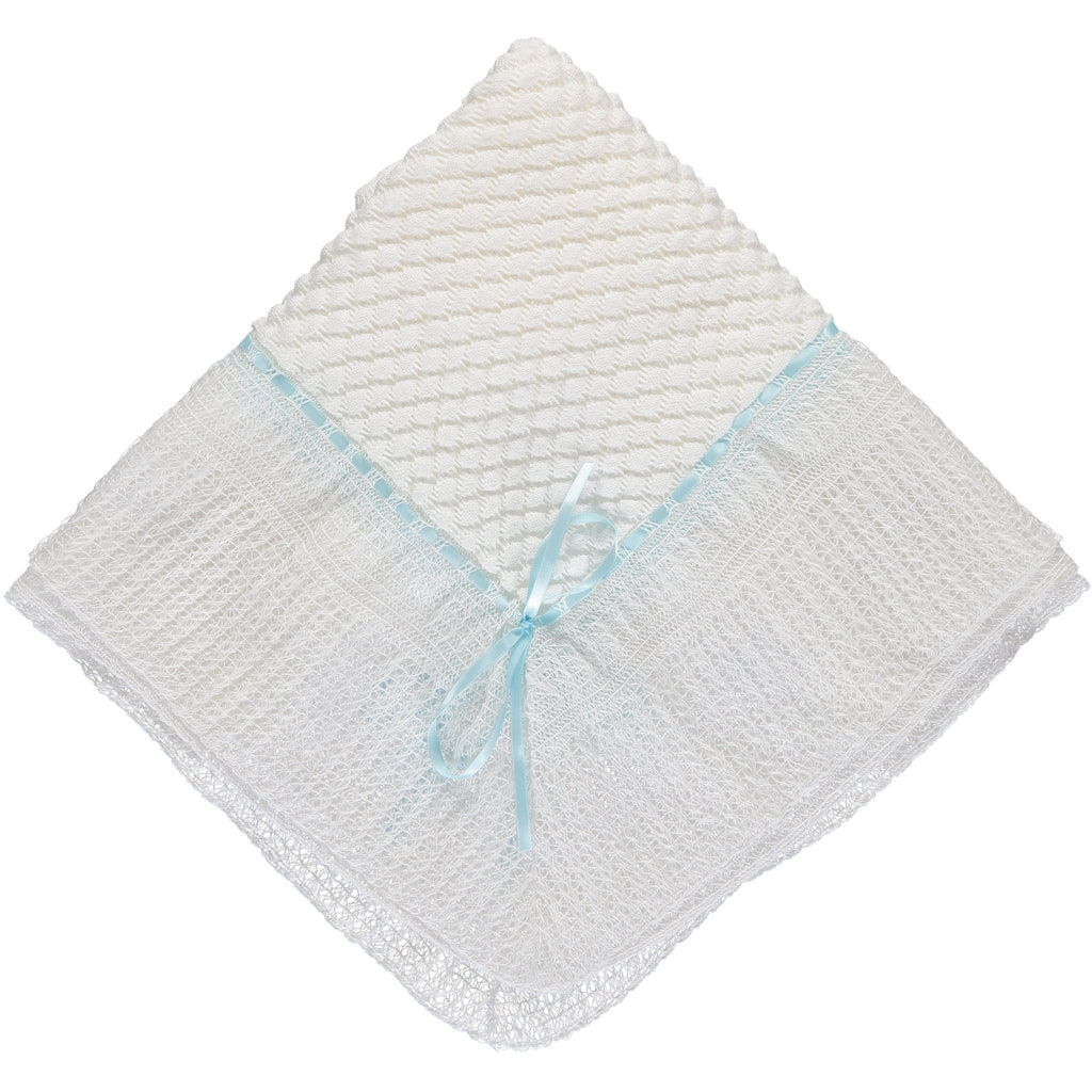 Julius Berger Belgium Lace with Blue Ribbon Blanket