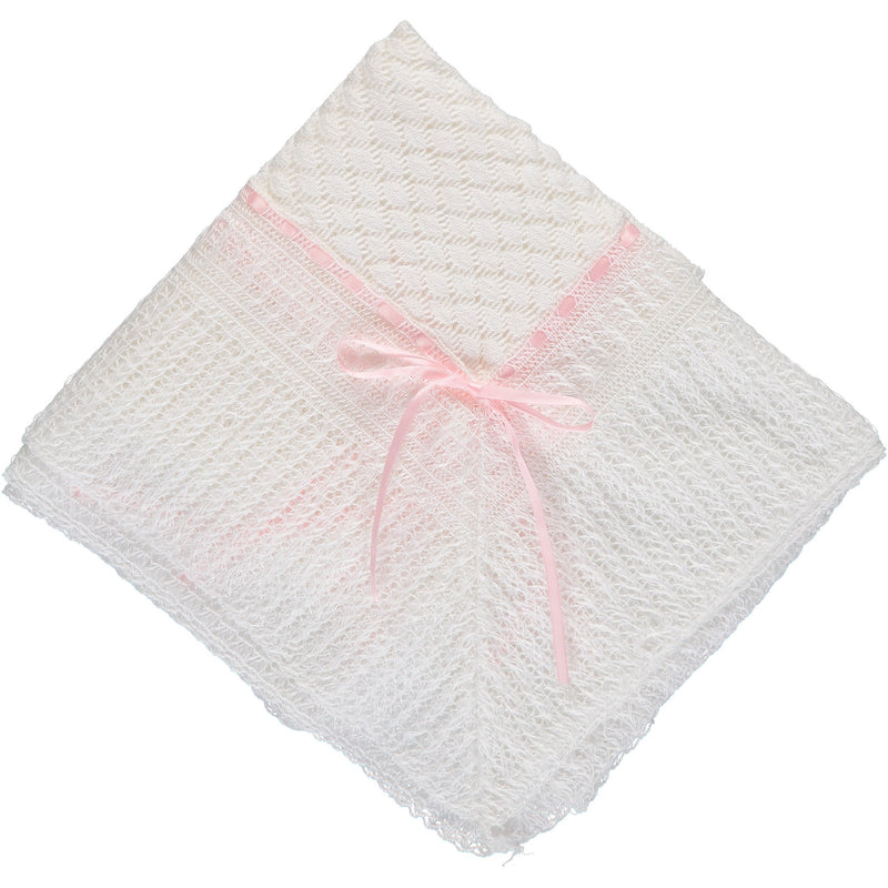 Julius Berger Belgium Lace with Pink Ribbon Blanket