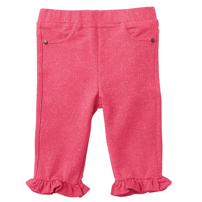 Mud Pie Pink Glitter French Terry Ruffle Capris
