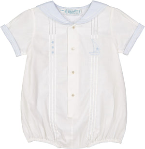Feltman Brothers Baby Sailor Romper Outfit - White with Blue Trim