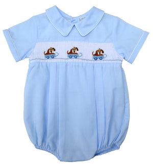 Carriage Boutique Hand Smocked Creeper - Light Blue Dogs in Wagon