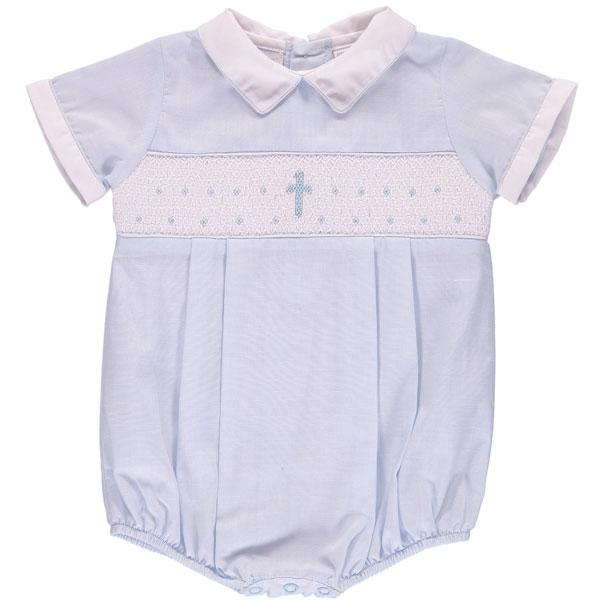 Carriage Boutique Hand Smocked Christening Baptism Blue Cross Romper - White Collar