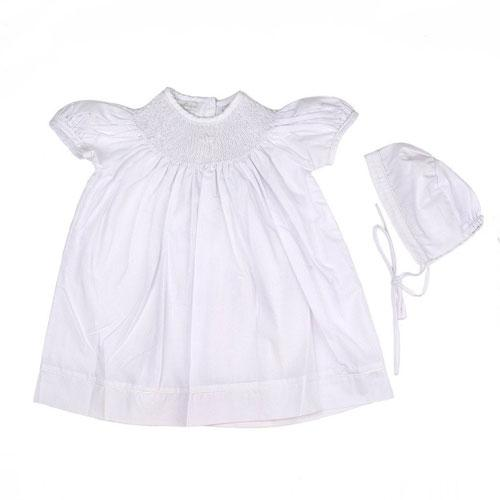 Carriage Boutique Hand Smocked Christening/Baptism Pearl Cross Bishop Dress with Bonnet - White