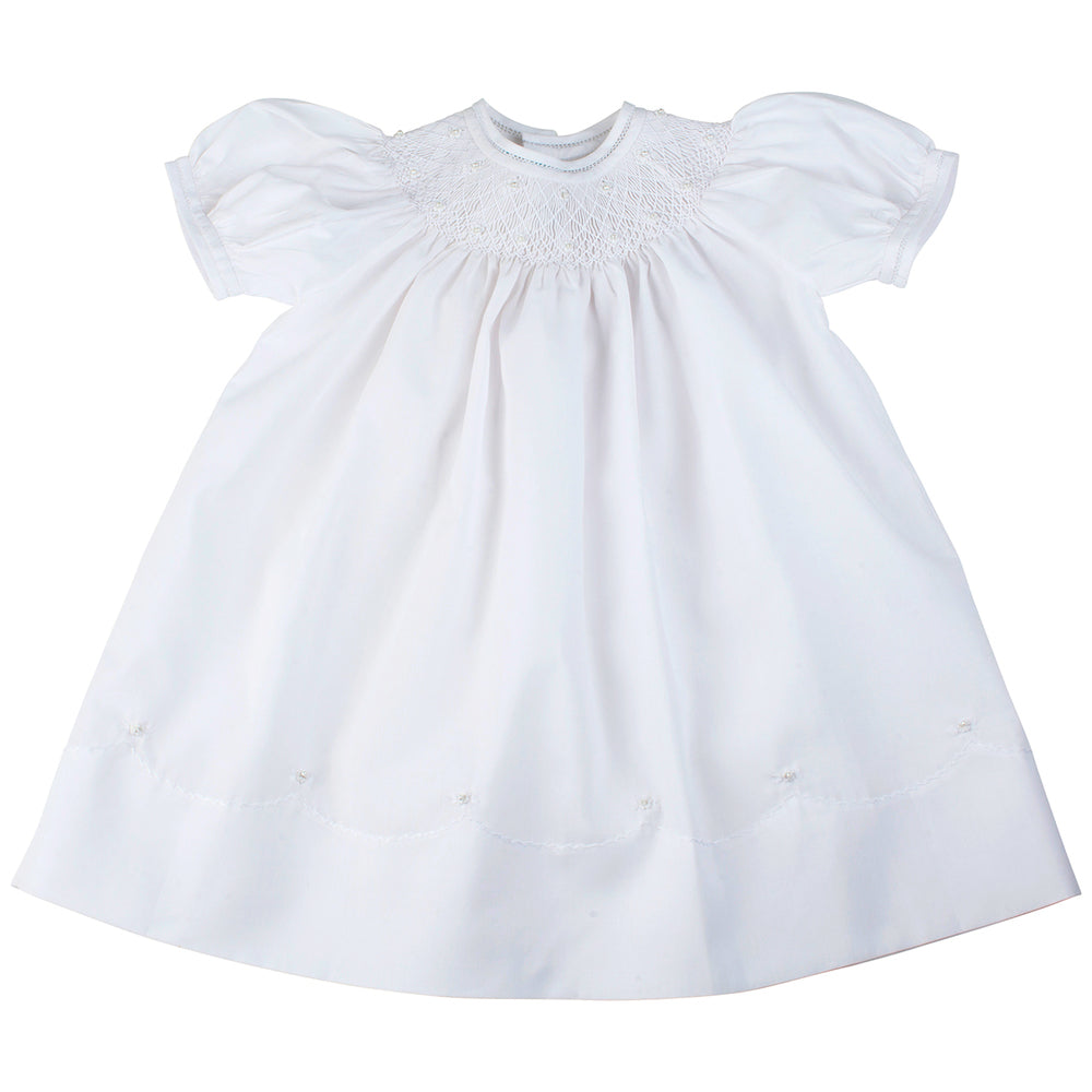 Feltman Brothers Pearl Flowers Bishop Dress - White