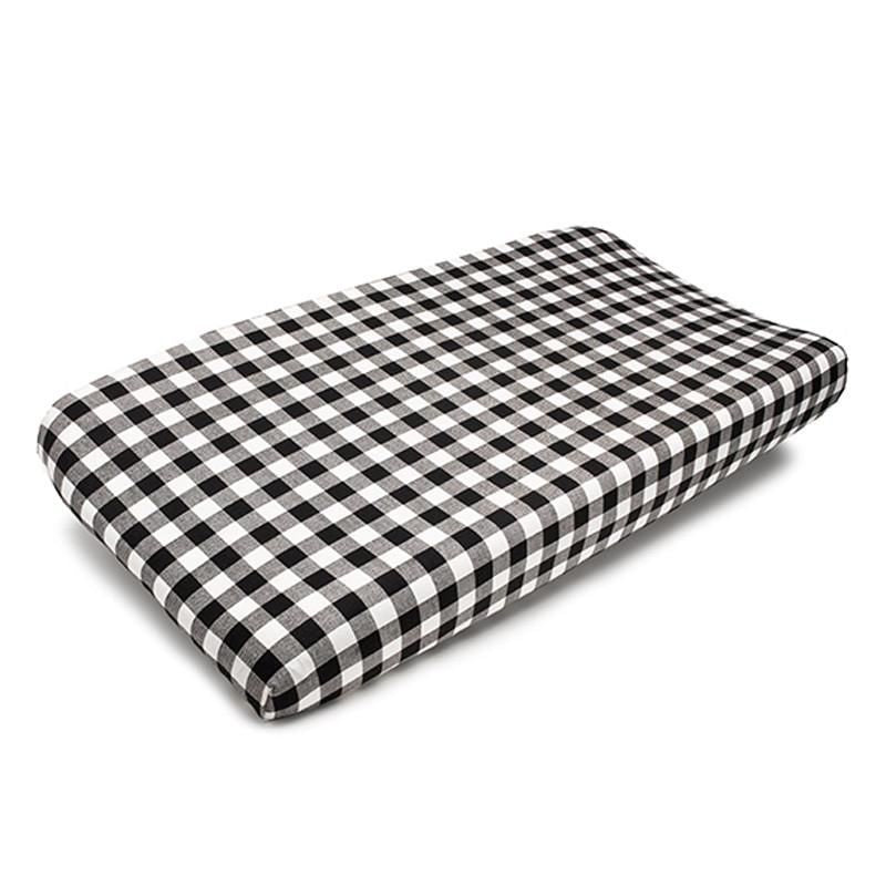 Sissy & Sawyer Plaid (Black And White) Contoured Changing Pad Cover