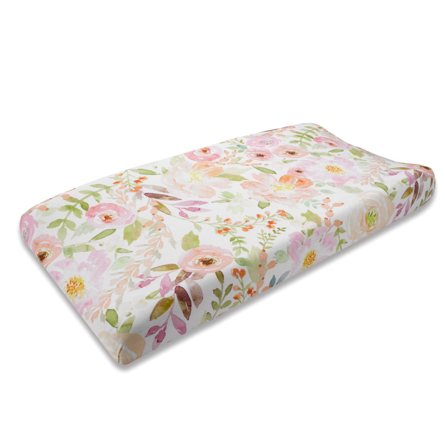Liz & Roo Watercolor Floral Contoured Changing Pad Cover