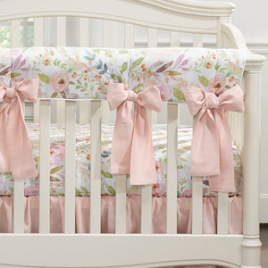 Liz & Roo Watercolor Floral Crib Rail Cover with Oversided Bows - Petal Pink