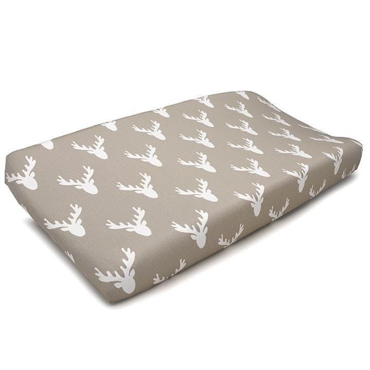Liz & Roo Buck Woodland (Taupe) Contoured Changing Pad Cover