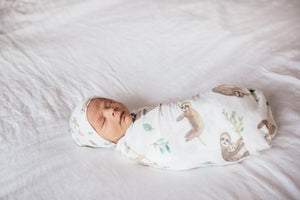Copper Pearl Newborn Top Knot Hat - Noah