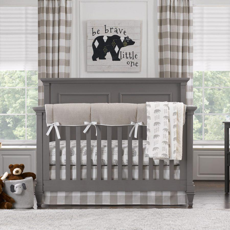 "Sissy & Sawyer ""Emmett Taupe"" Crib Bedding 4-pc. Set"