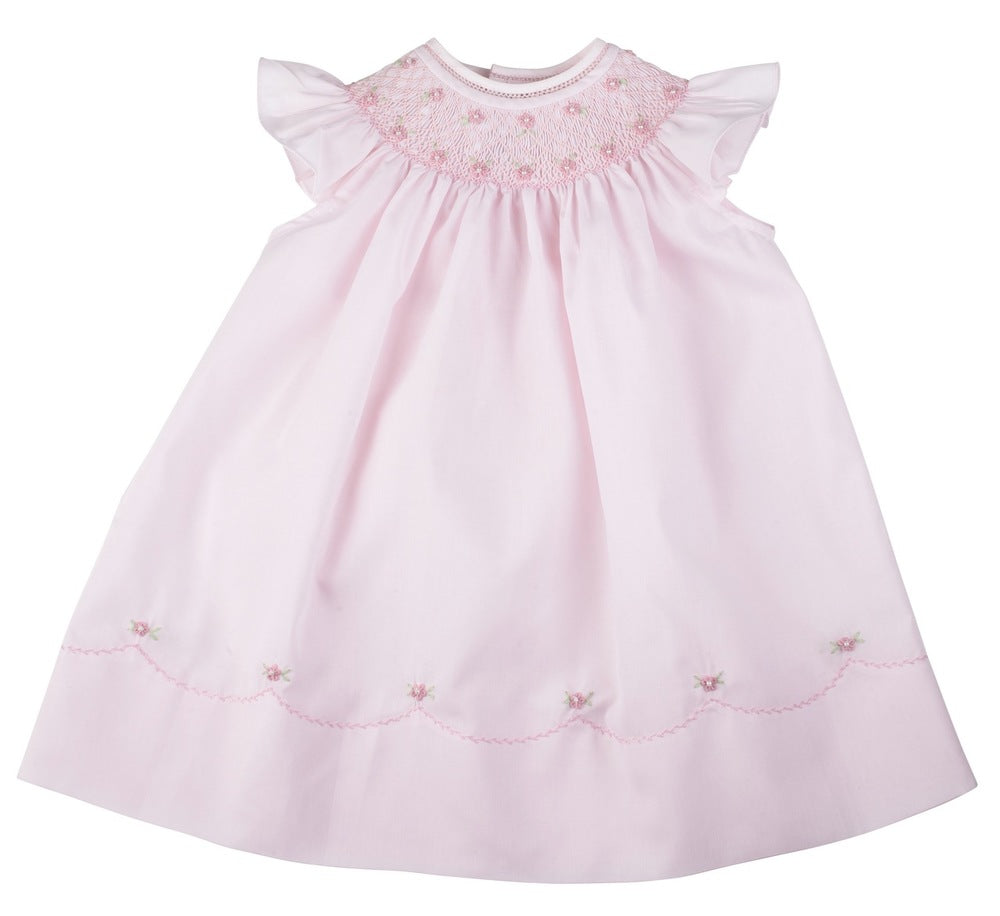 Feltman Brothers Pearl Flower Fly Sleeve Bishop Dress - Pink