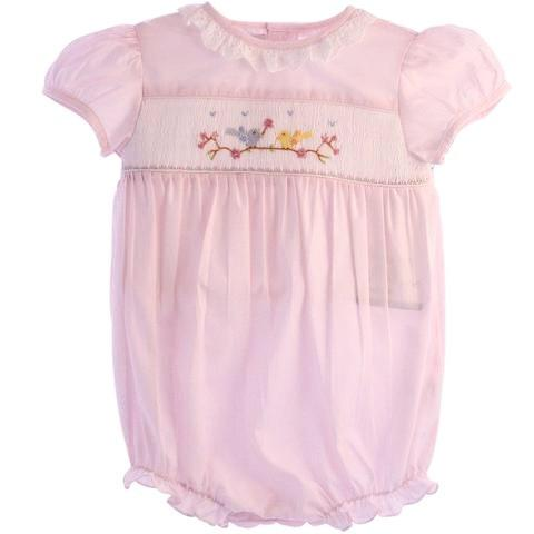 Carriage Boutique Hand Smocked Classic Bubble - Pink Spring Birds