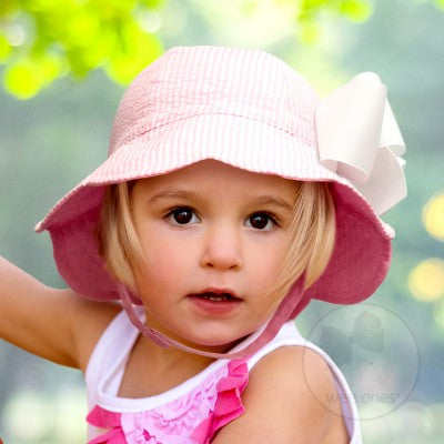 Wee Ones Reversible Seersucker Floppy Hat - Pink