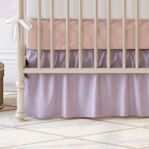 "Sissy & Sawyer Lavender Linen Gathered Crib Skirt 16"" Drop"