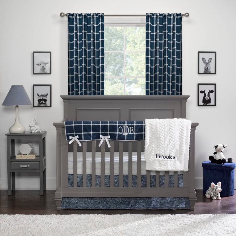 Sissy & Sawyer Modern Farmhouse Plaid Bumperless Crib Bedding 4-pc. Set