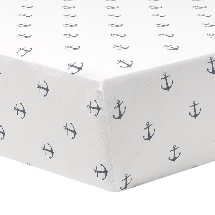 Sissy & Sawyer Navy Mini Anchors Crib Sheet