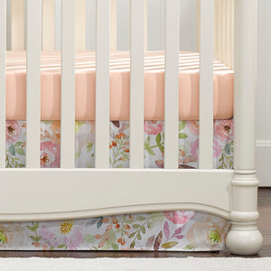 "Liz & Roo Watercolor Floral Crib Skirt 17"" Drop"
