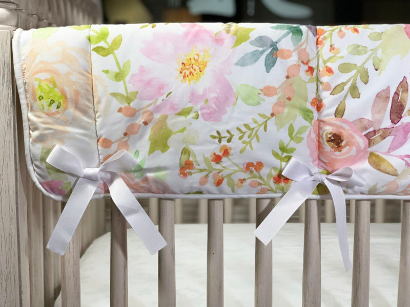 "Sissy & Sawyer ""Posie"" Crib Rail Cover (With Ribbons)"