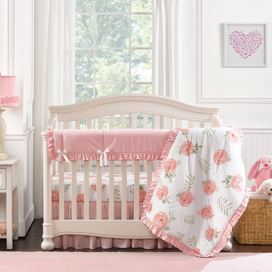 Liz Roo Pink Peony Crib Bedding Set 4 Pc Set With Quilt Our