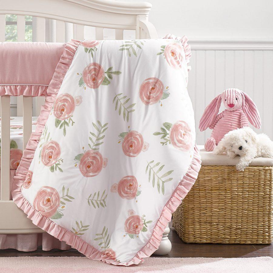 Liz & Roo Pink Peony Quilt with Satin Backing