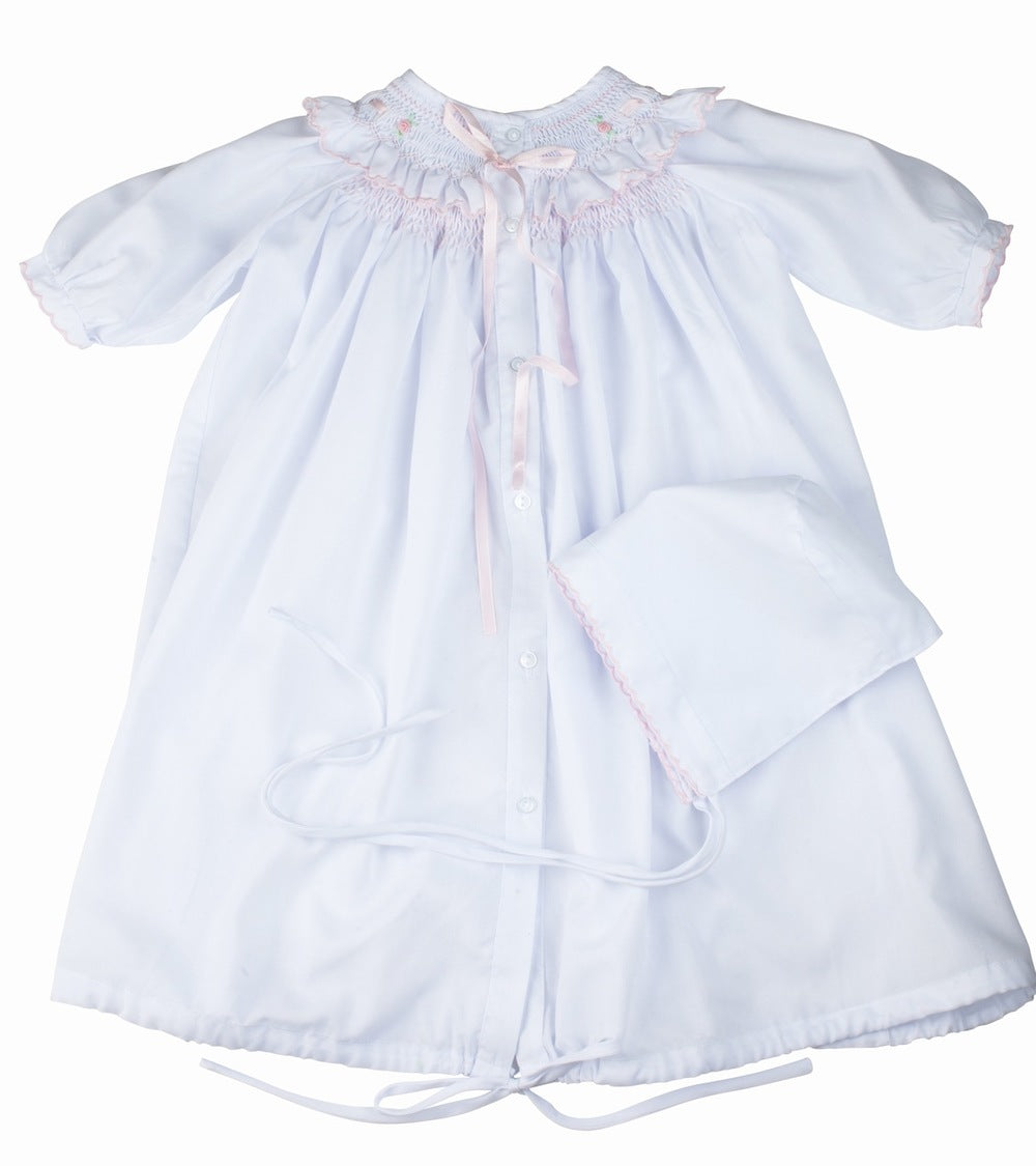 Feltman Brothers Smocked Ribbon Ruffle Take Me Home Gown and Hat