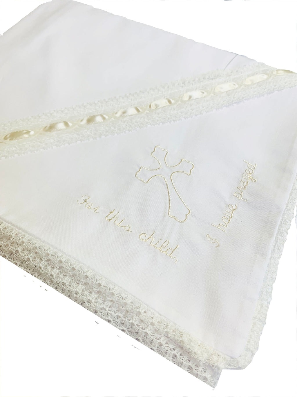 "Lullaby Set ""For This Child I Have Prayed"" White with Ecru Baby Blanket"