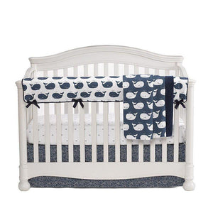 "Sissy & Sawyer Navy Waves Crib Skirt 17"" Drop"