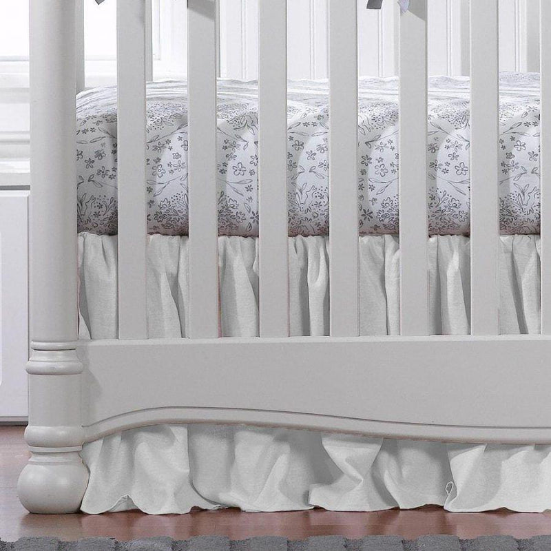 Liz & Roo White Woven Gathered Crib Skirt 17