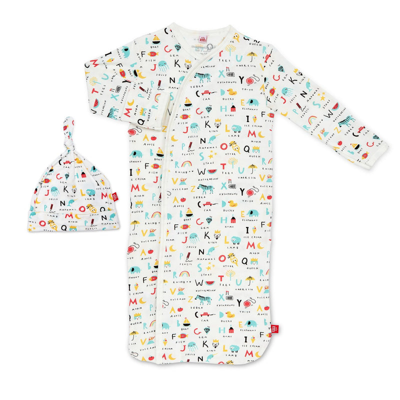 Magnificent Baby Organic Cotton Magnetic Gown Set - ABC Love Modal