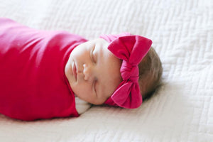 Copper Pearl Knit Headband Bow - Berry