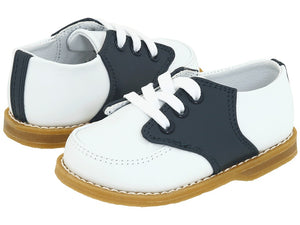 Baby Deer Navy/White Leather Saddle Oxford