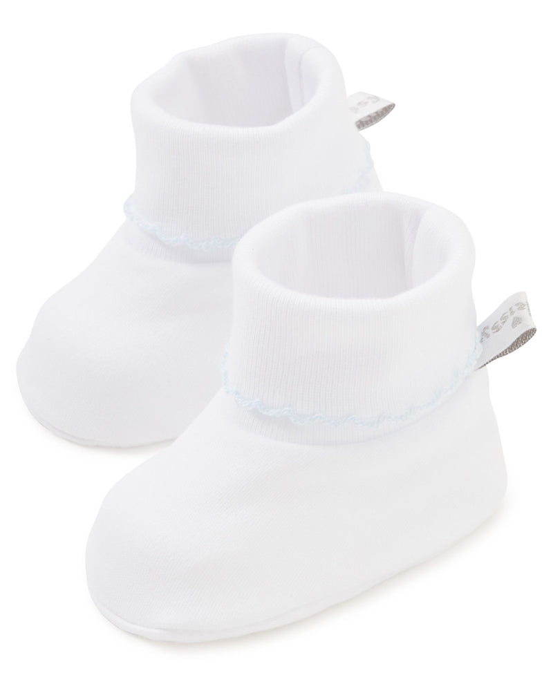 Kissy Kissy Basic Booties - White w/ Blue Trim