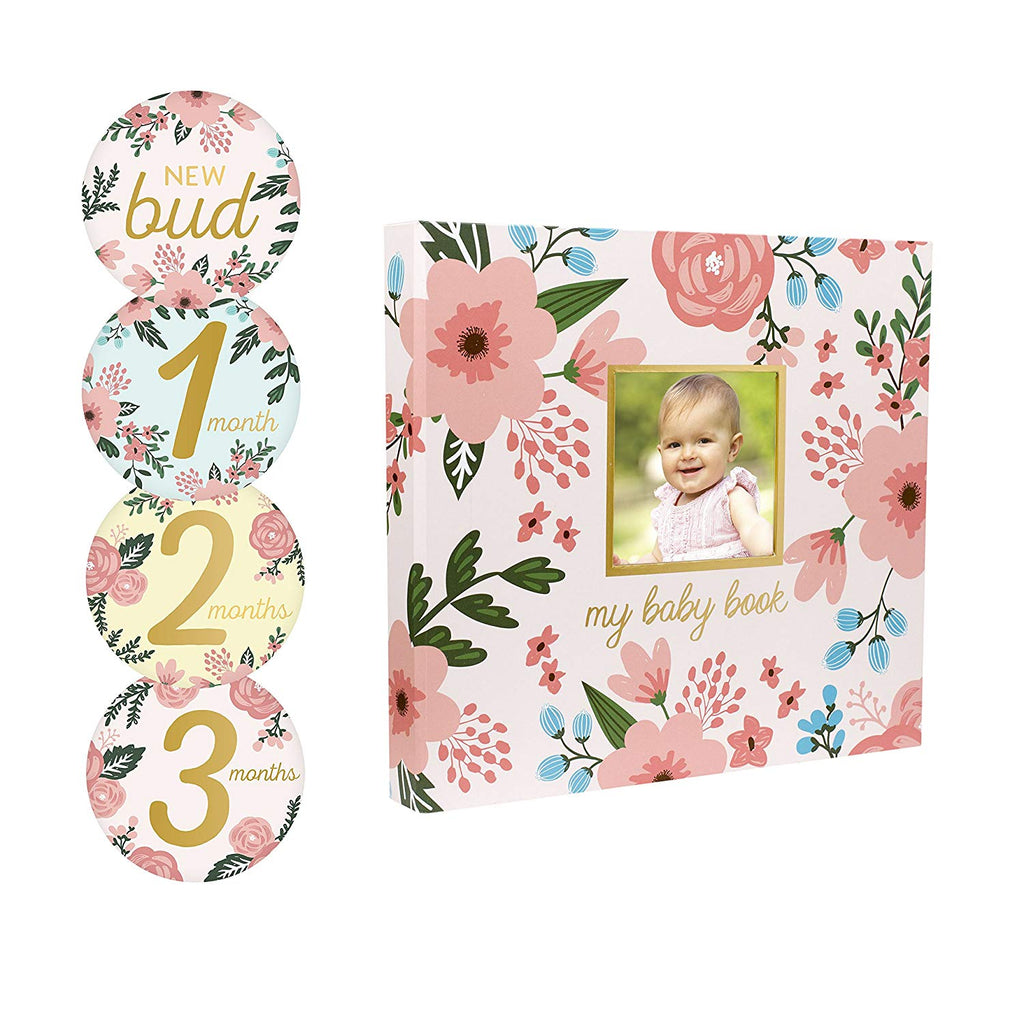 Pearhead Floral Baby Book and Sticker Set