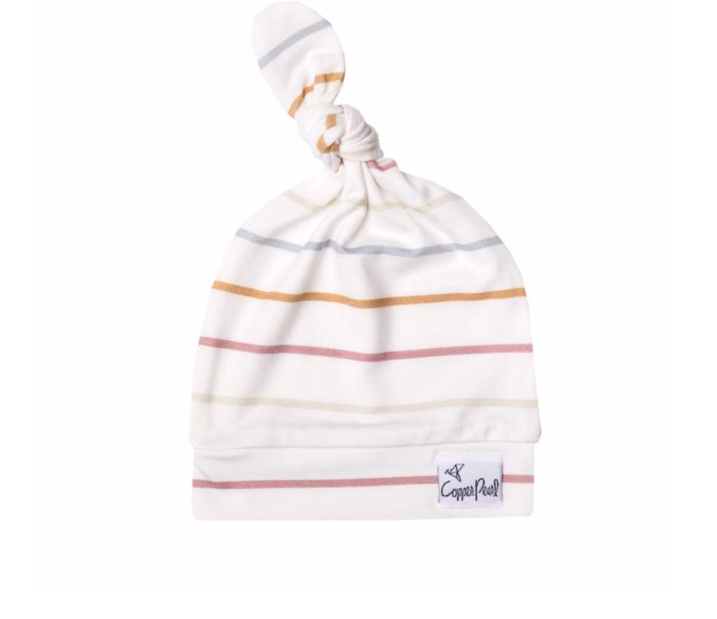 Copper Pearl Newborn Top Knot Hat - Piper