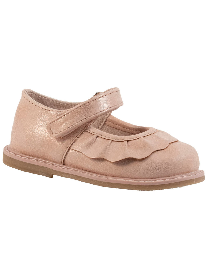 Baby Deer Shimmer Mary Jane w/ Pleated Scallop - Blush