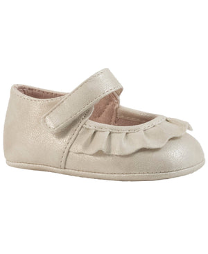 Baby Deer Shimmer Mary Jane w/ Pleated Scallop - Ivory