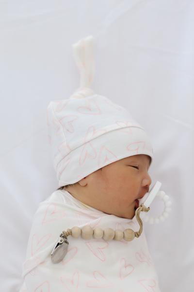 Copper Pearl Newborn Top Knot Hat - Lola
