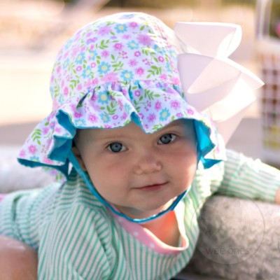 Wee Ones Reversible Multi Floral Floppy Hat - Pink