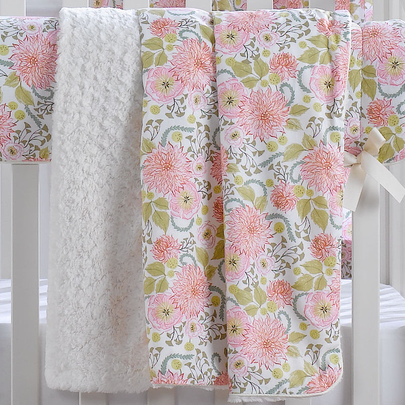 Liz & Roo Pink Floral Minky Receiving Blanket