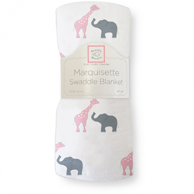 Swaddle Designs Marquisette Swaddle Blanket - Safari Fun Bright Pink