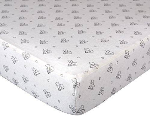 Living Textiles Crib Fitted Sheet - Paper Hearts