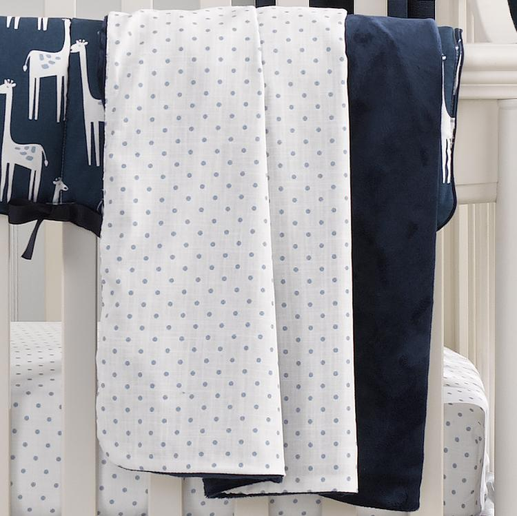 Sissy & Sawyer Sky Blue Mini Dots Minky Receiving Blanket