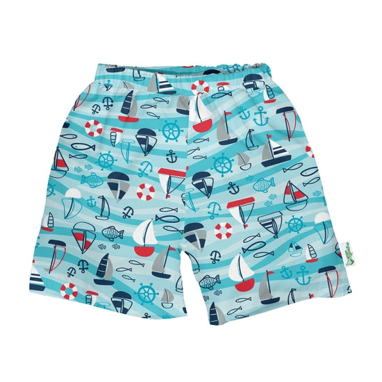 Aqua Nautical Swim Trunk with Built-In Diaper