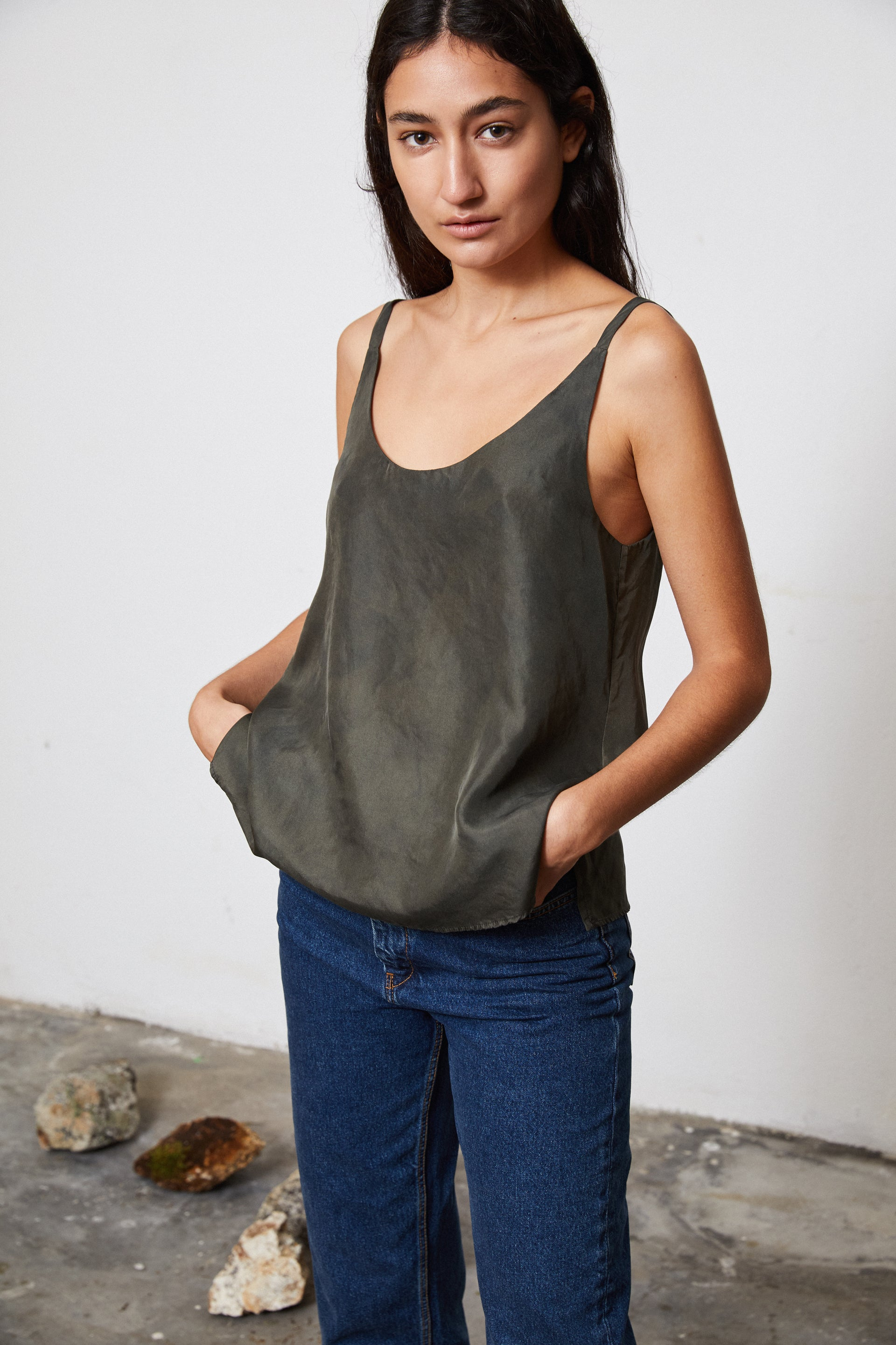 HAND DYED SILK SLIP TOP - POMEGRANATE ON IRON POT