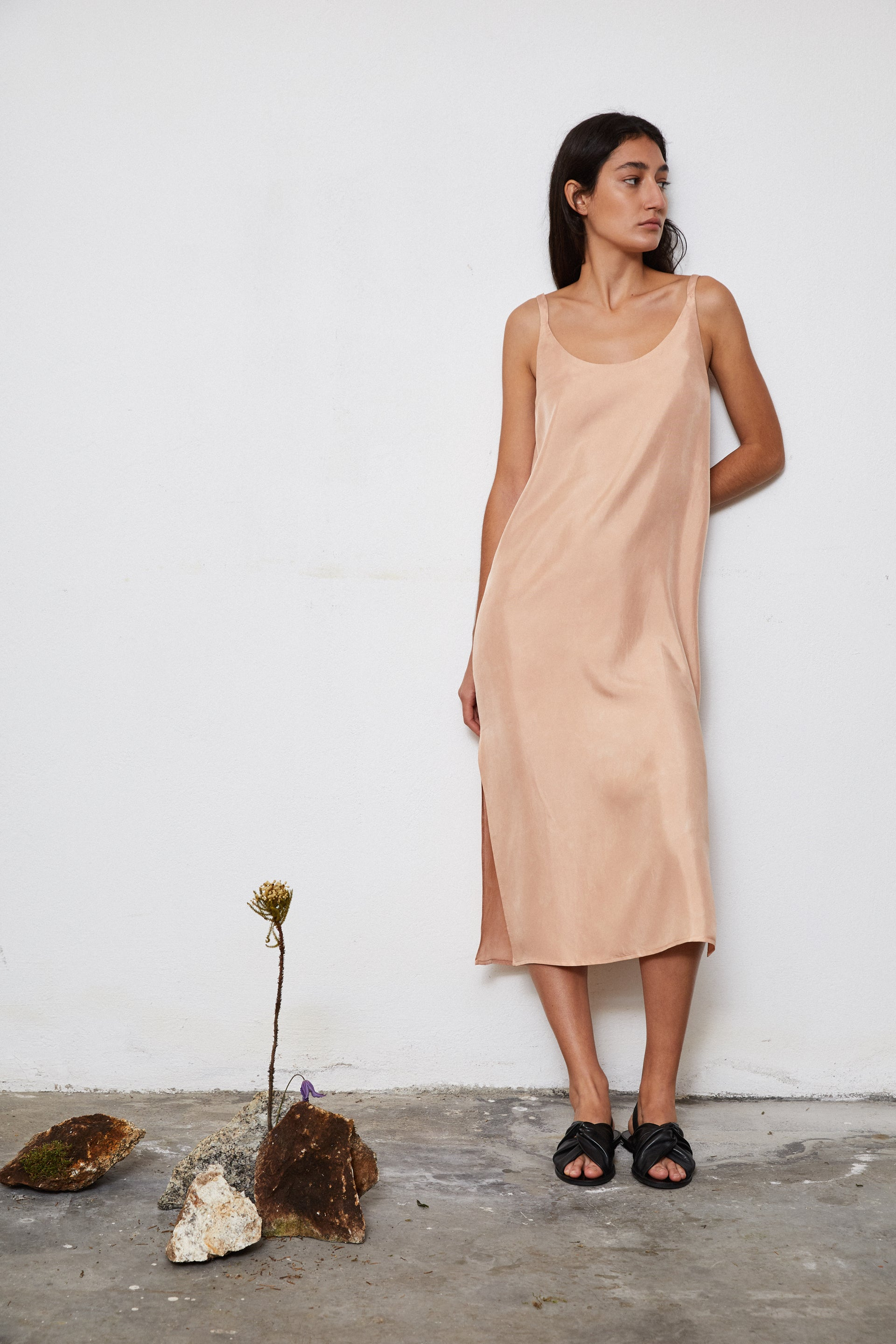 HAND DYED SILK SLIP DRESS - AVOCADO