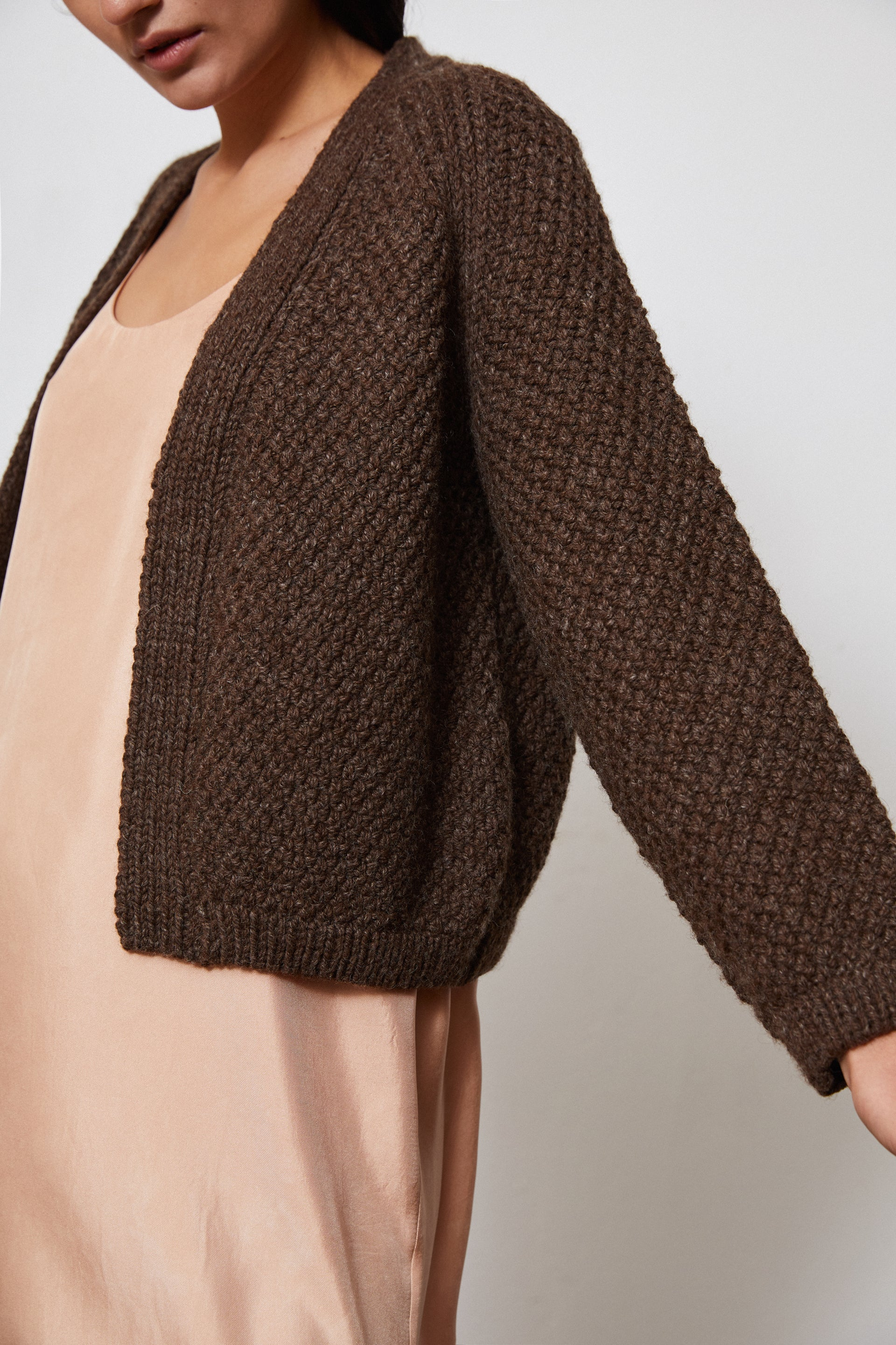 HAND KNITTED SAUCO WOOL CARDIGAN - EARTH