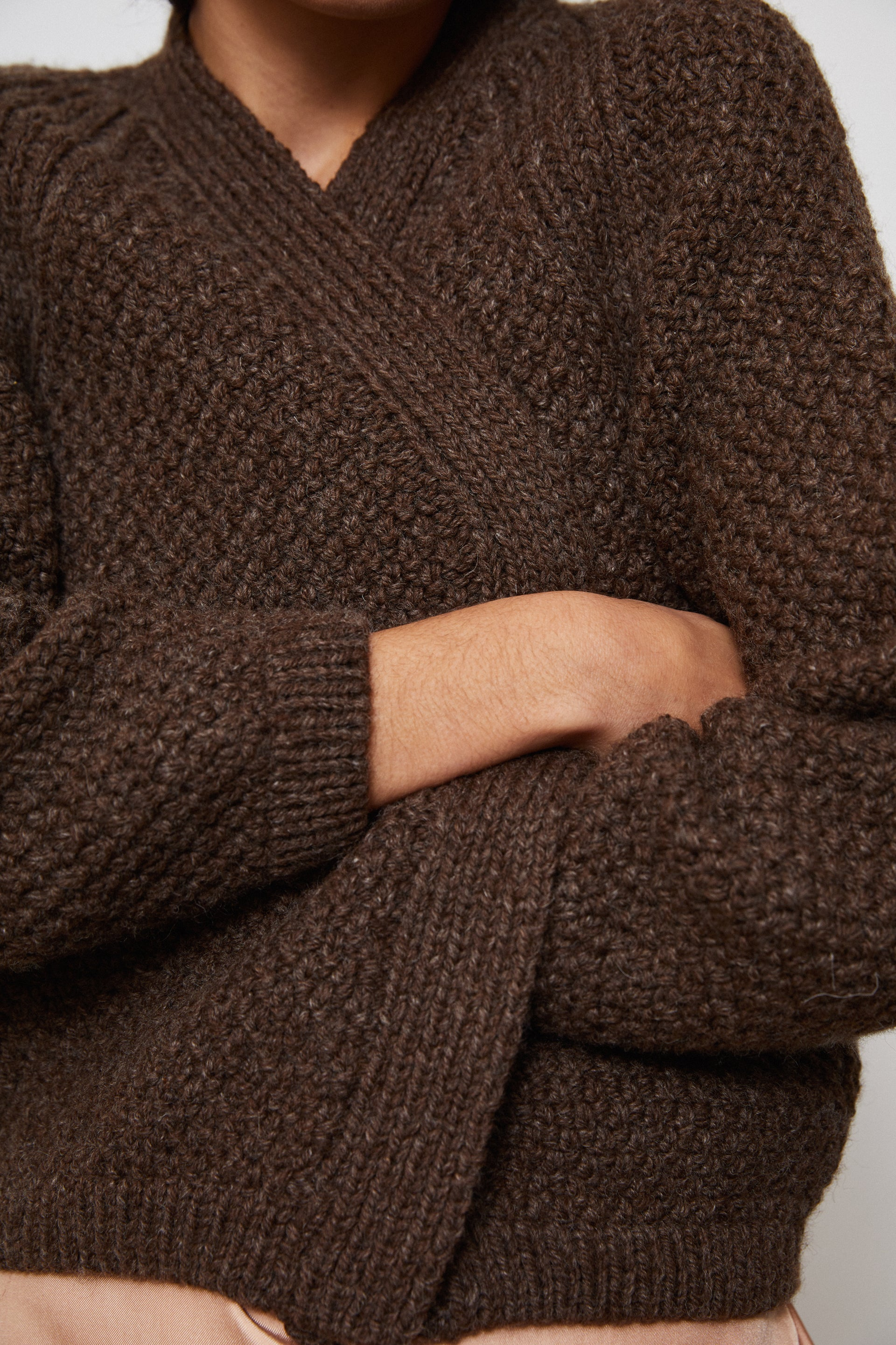 HAND KNITTED WOOL CARDIGAN - EARTH