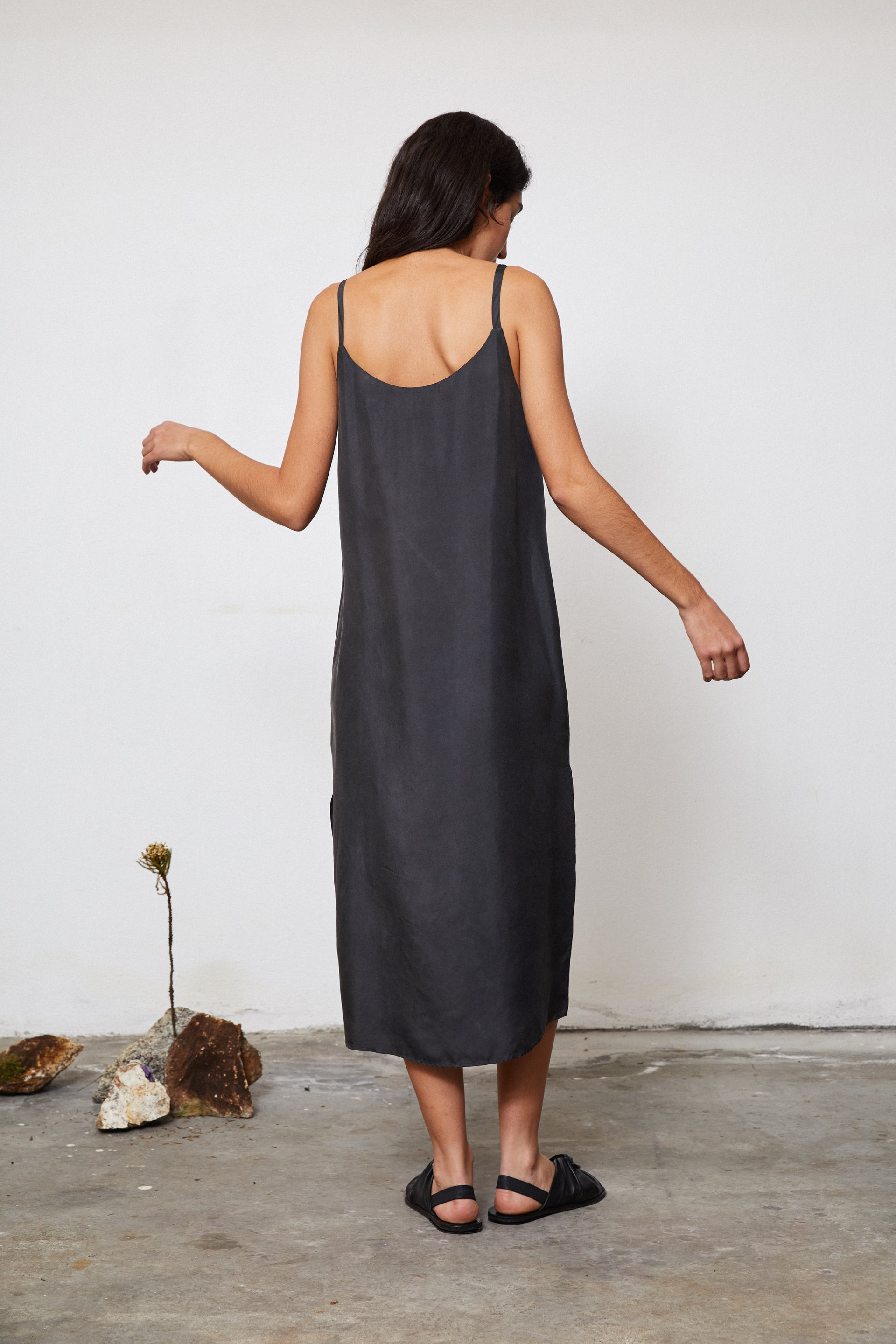 HAND DYED SILK SLIP DRESS - EUCALYPTUS ON IRON POT